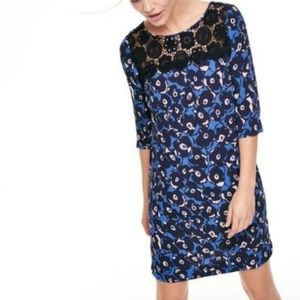 Boden Jessa Lace Tunic Dress Mini Blue Black 6